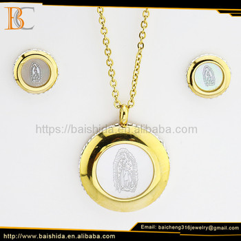 Dongguan Manufacturer Cheap Gold Plated Virgin Mary Stainless Steel Jewelry Sets With Crystal