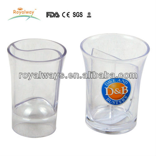 clear mini plastic shot cup with interlayer