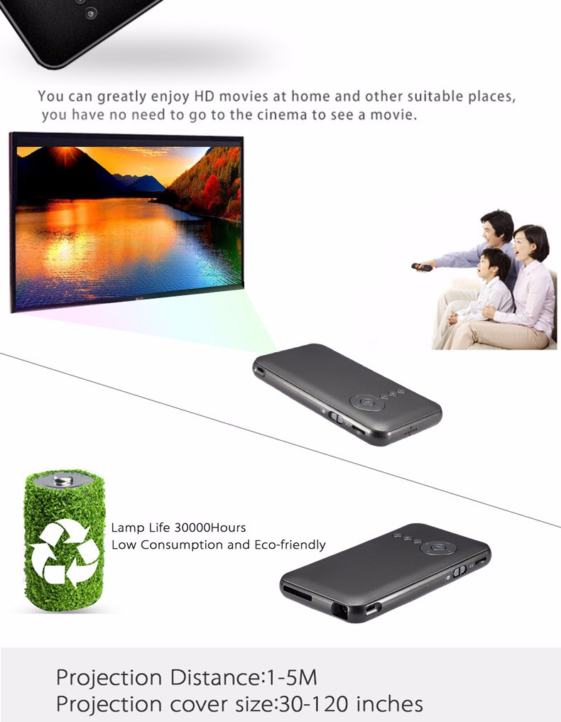 Original Smart Mini M6 DLP Projector Portable Wifi Projector DLNA Android 4.4 Bluetooth 4.0 Built-in 5000mAh Battery Projector