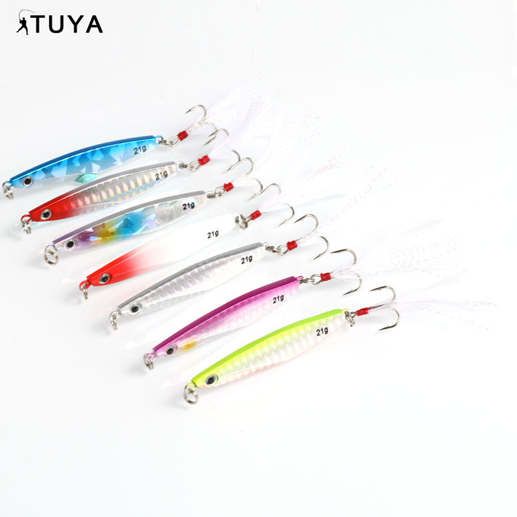 Highly carbon steel grade treble hooks fishing lure with beautiful tail