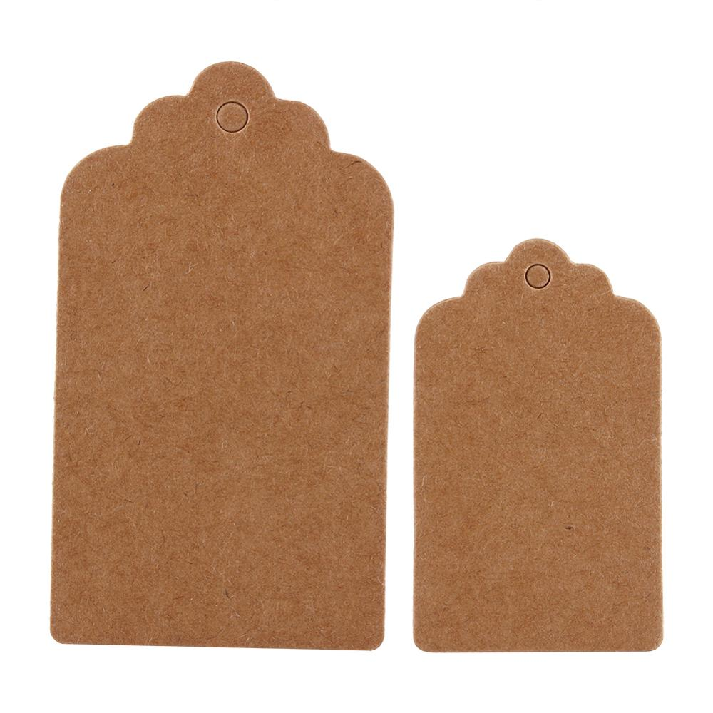 100pcs/bag DIY Kraft Paper Tags Head Label Luggage Wedding Party 5x3cm Note Blank Price Hang Tag Kraft Gift Hang Tag