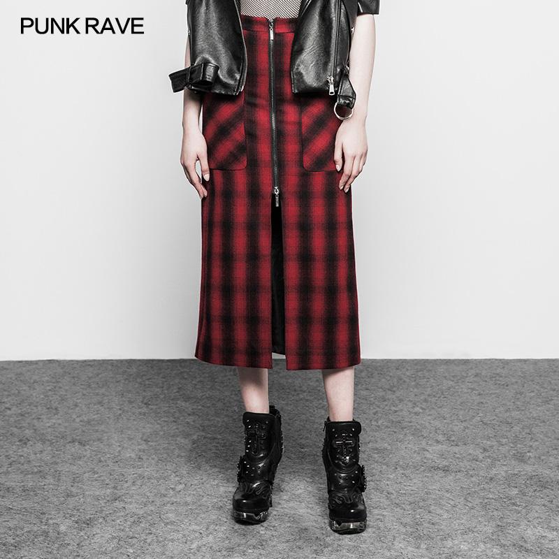 5ebf721411 OPQ-266 negro con cremallera roja recta falda a cuadros de lana media falda
