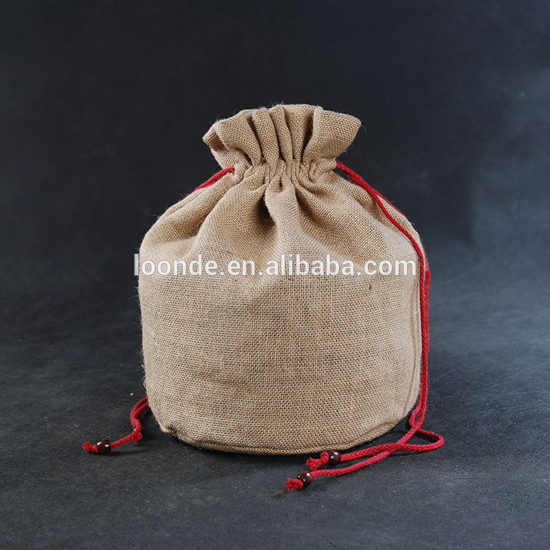 5x7 inch screen printed jute drawstring burlap bags wholesale