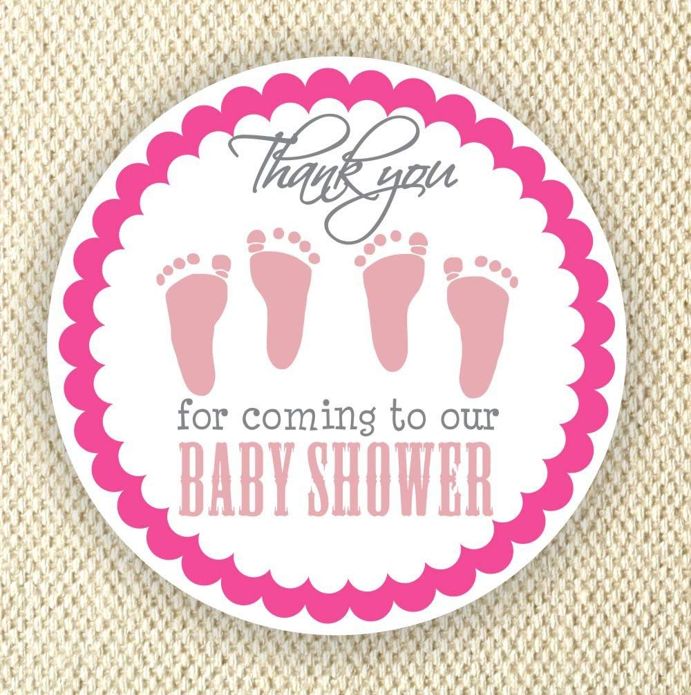 Twin Baby Girl Shower Stickers - Twin Girls Stickers - Favor Stickers - Baby Shower Favor Stickers - Baby Footprint Stickers - Set of 40 stickers