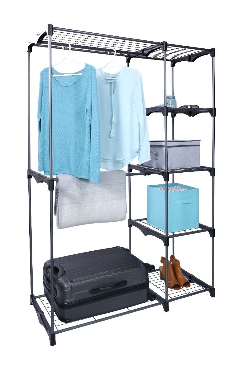 Get Quotations · Whitmor Black Double Rod Freestanding Closet Organizer