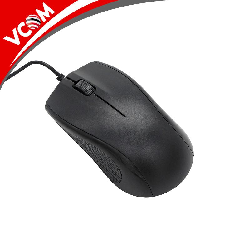VCOM FCC CE belgeli için siyah ucuz bilgisayar optik kablolu fare masaüstü