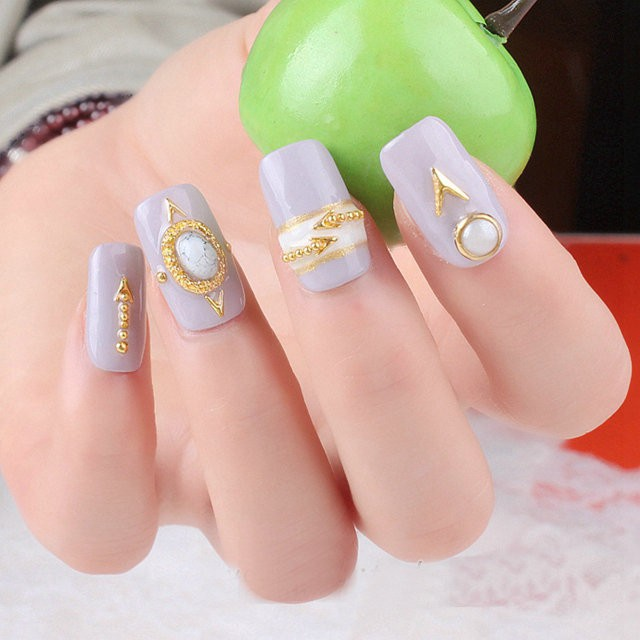 12 Shapes 3D Gold Studs Wheel 3D Metal Nail Art Decoration