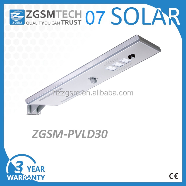 MPPT charing method solar street lamp LED 30W with lithium battery LiFePO4