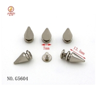 7mm cone shape rivet studs with screw fashion metal spikes