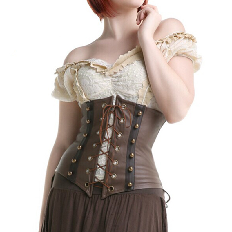 Steampunk Latex Brown Faux Leather Gothic Waist Shaper Corset Underbust Waist Training Corsets And Bustiers Women Sexy Corpete