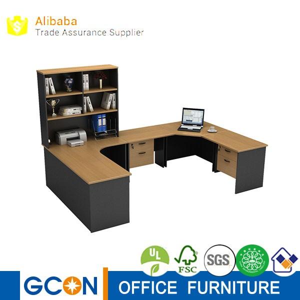 lujo comercial muebles gran forma u oficina ejecutiva escritorio de la esquina con estante