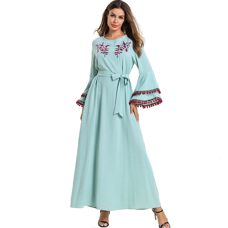 Wholesale High Quality Muslim Fashionable long-sleeved Embroidered India Turkey Butterfly Abaya