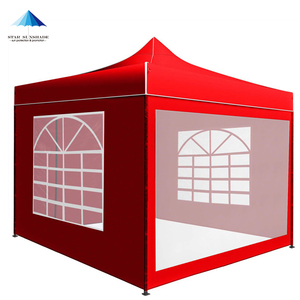 red steel pop up gazebo folding party event trade show tent with side walls
