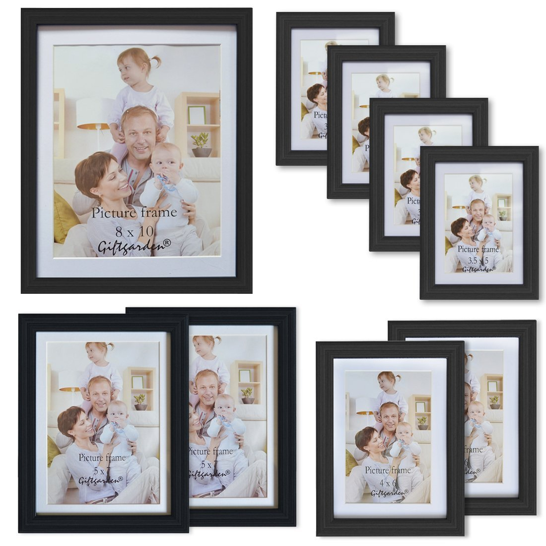 Giftgarden 9-Piece Multi Pack Black Picture Frames Wall Gallery Kit White Mat, One 8x10, Two 5x7, Two 4x6, Four 3.5x5