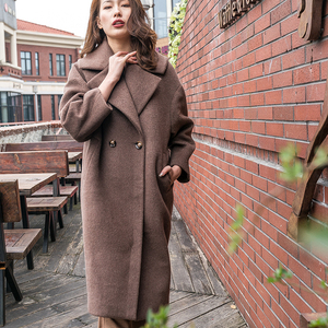 Luxury Latest Design Women Brown Cashmere Trench Coat
