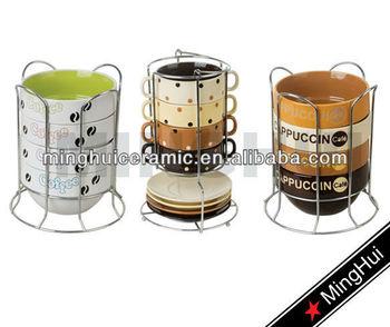 Specialized Polka Dot Stackable Coffee Mugs Sets With Rack Print Inside Custom Logo Printing Mug Ceramic