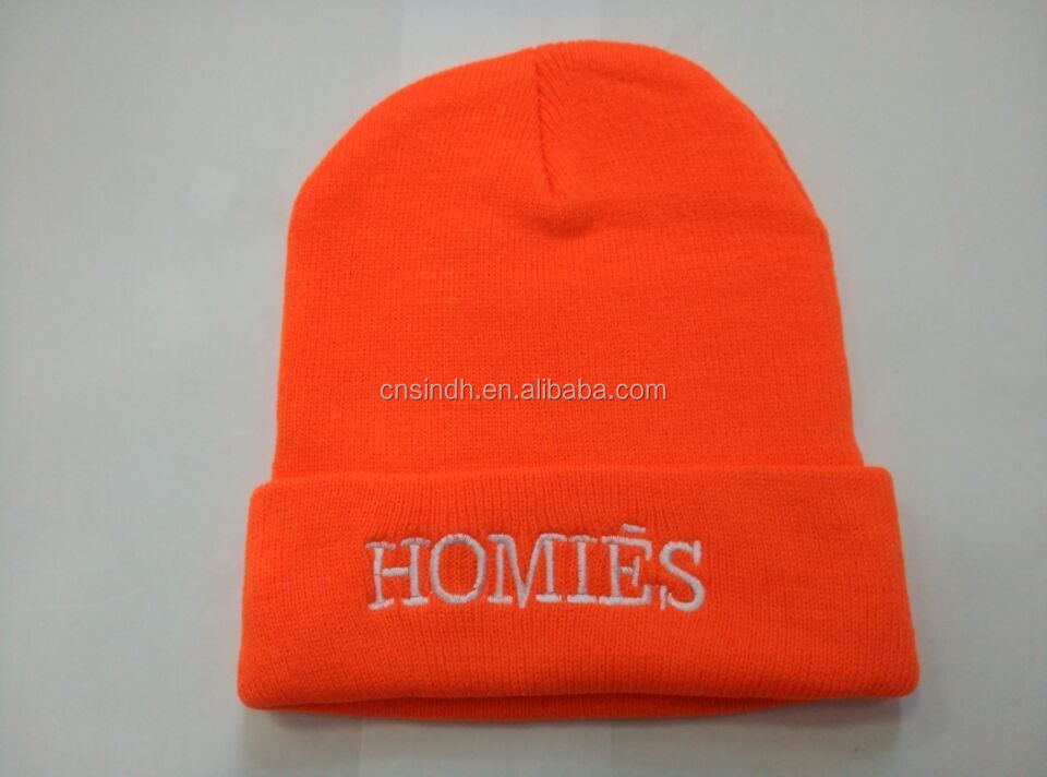 100% Acrylic embroidered Beanie Hat embroidery hat