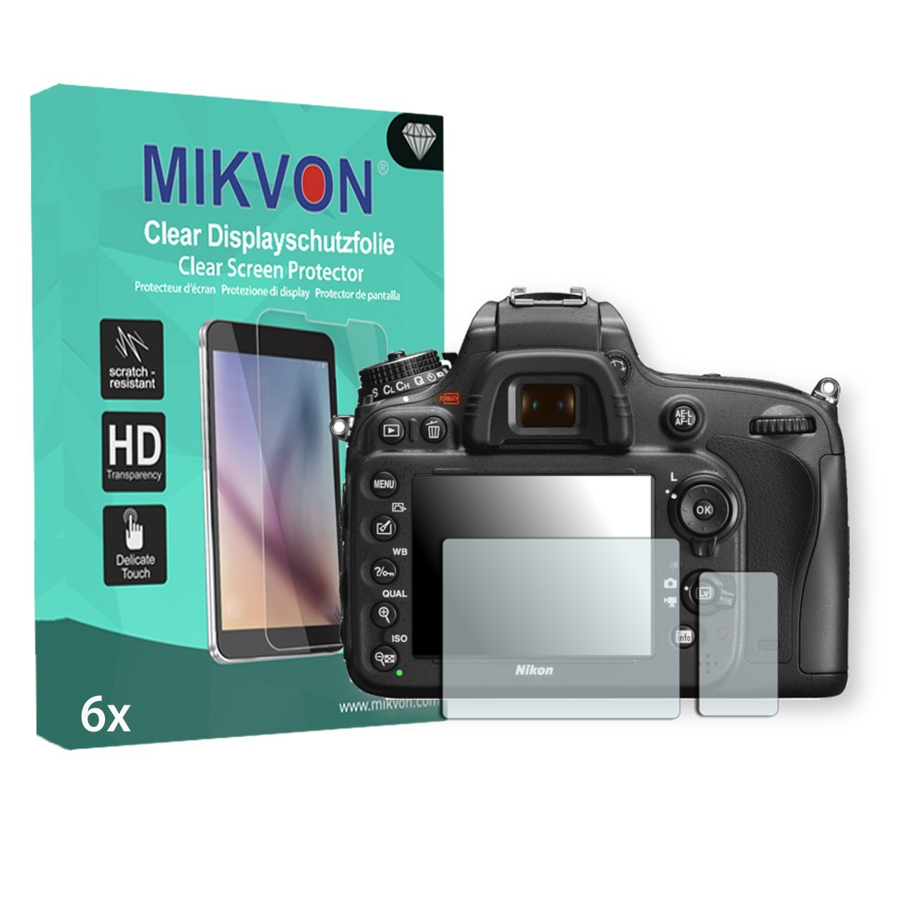 6x Mikvon Clear Screen Protector for Nikon D600 - Retail Package with accessories