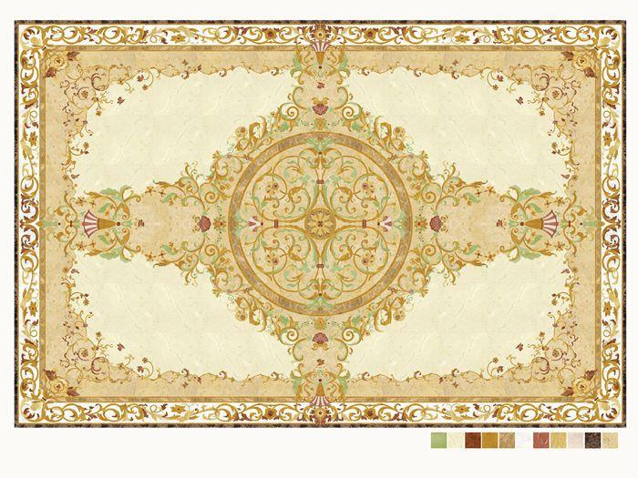 Museum Hall Floor Decoration Waterjet Natural Stone Murals