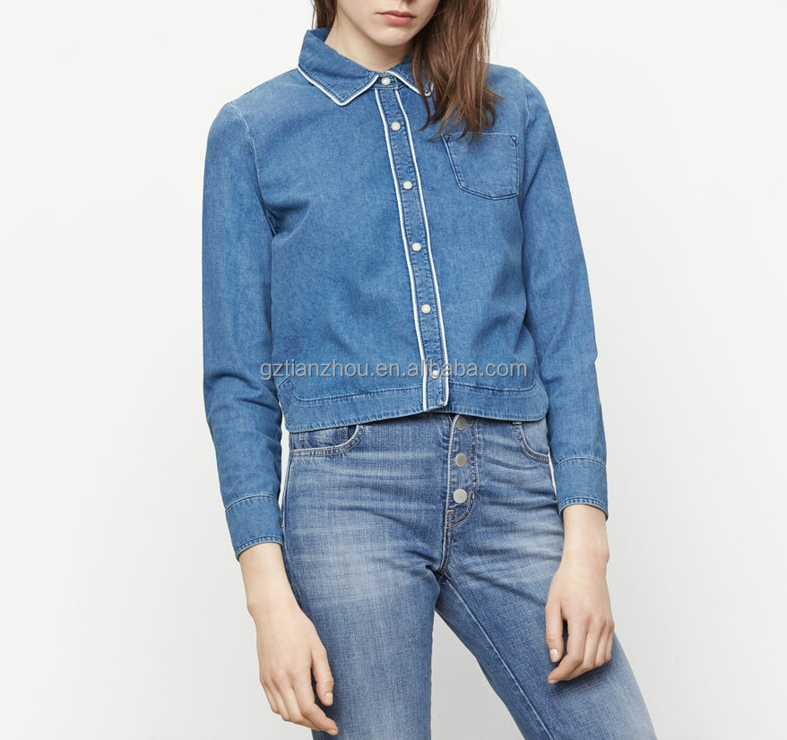 China guangzhou clothing OEM 100% Cotton traditional shirt collar long sleeves smart casual Floaty denim shirt for women
