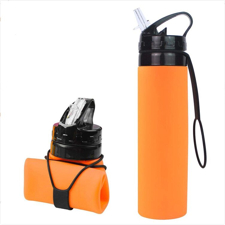 silicon foldable bottle 600ml food grade Sports plastic bottles with straw
