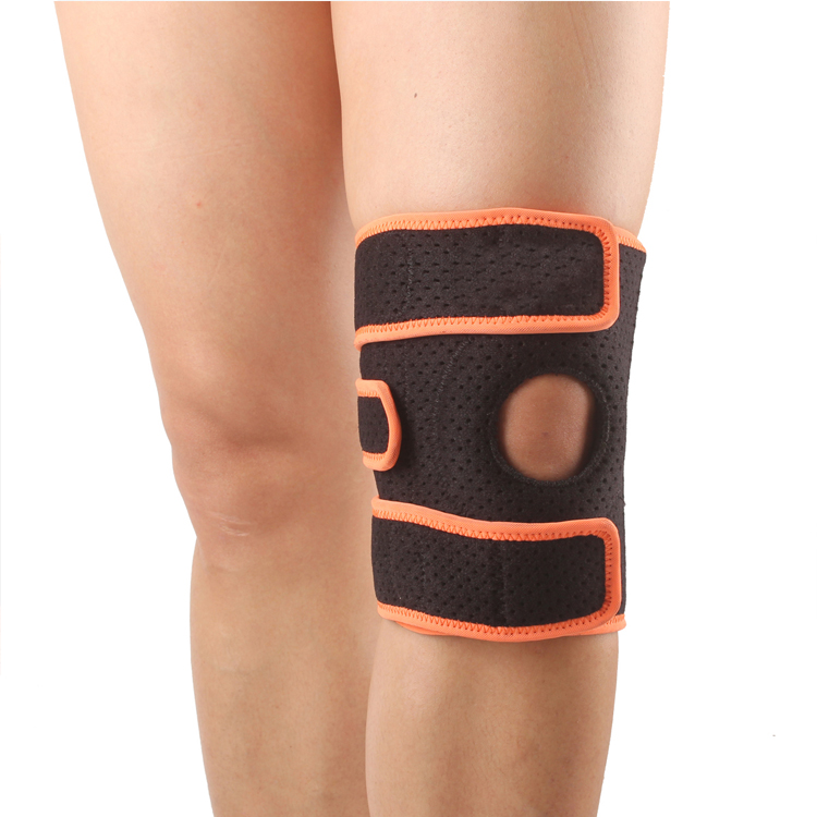 Sports Neoprene Knee Patella Support Brace Wrap Protector Pad Sleeve, <strong>Orange</strong>, Black