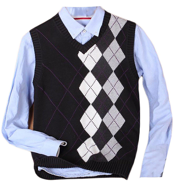 c83b089b2985c3 Get Quotations · XQS Mens Regular Fit V Neck Plaid Pattern Sleeveless  Sweater Vest