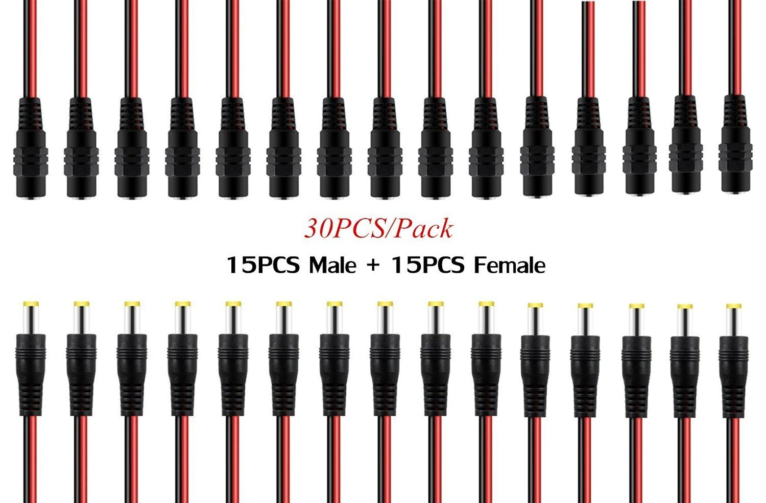 OdiySurveil(TM) 30PCS 10 Inch(30cm) 2.1 x 5.5mm DC Power Pigtail cable for CCTV Security Camera (Pack of 15 Male + 15 Female DC Plug cable )