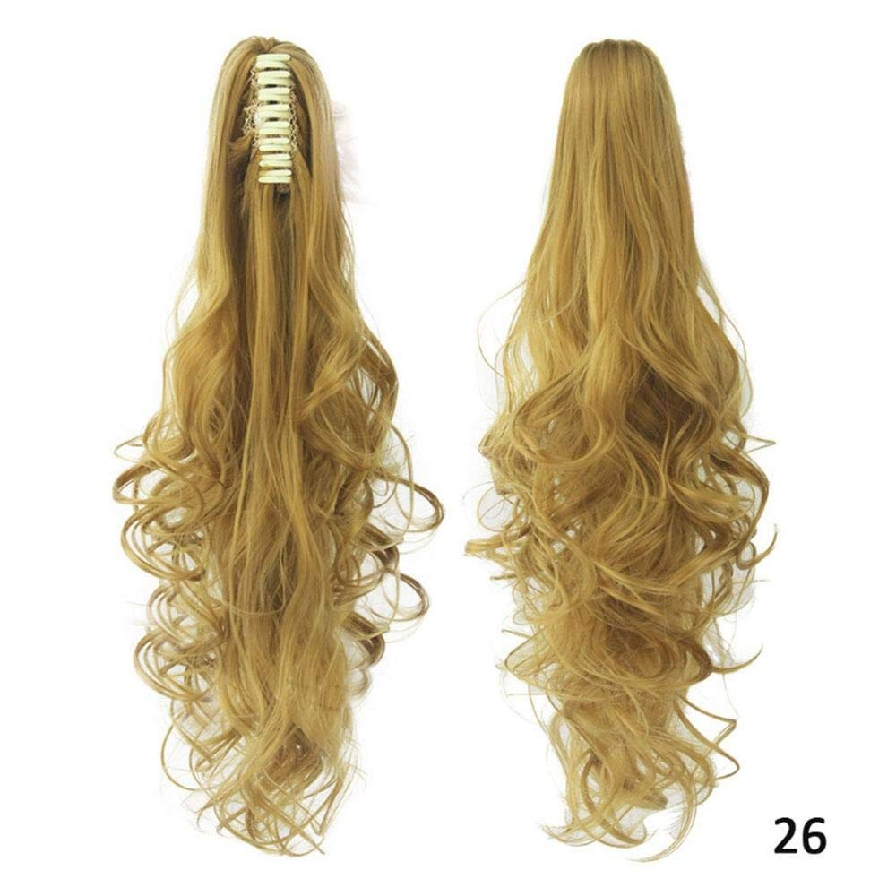 AOLVO Ponytail Extensions,Hair Piece For Women,Straight Curly Synthetic Clip In Claw Ponytail Synthetic Hairpiece Wavy Wig Natural Cosplay Costume Club Party Daily Hair
