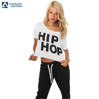 749aa6e7 custom off the shoulder t-shirt wholesale women crop top t-shirt hip hop