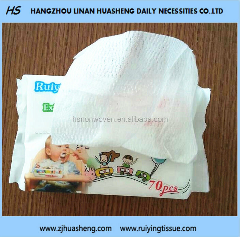 Degradable Baby Facial Tissue 100% cotton HS509 Extractible Pack Tissue Dry&Wet Use