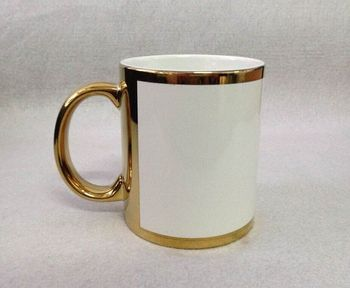 sublimation gold mug with white patch, 11oz gold sublimation mug