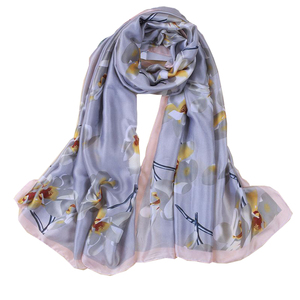 Floral Long Satin Silk Scarf Photo Print Traveling Shawl Scarves