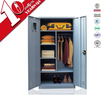 corner charcoal two door army wardrobe closet with hanging rod & shelves /  durable military clothes