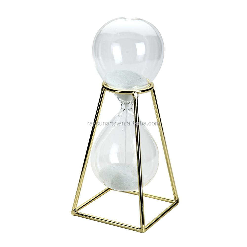 Metal Golden Stand With Hourglass Sand Timer Clock for Office kitchen Decor Home