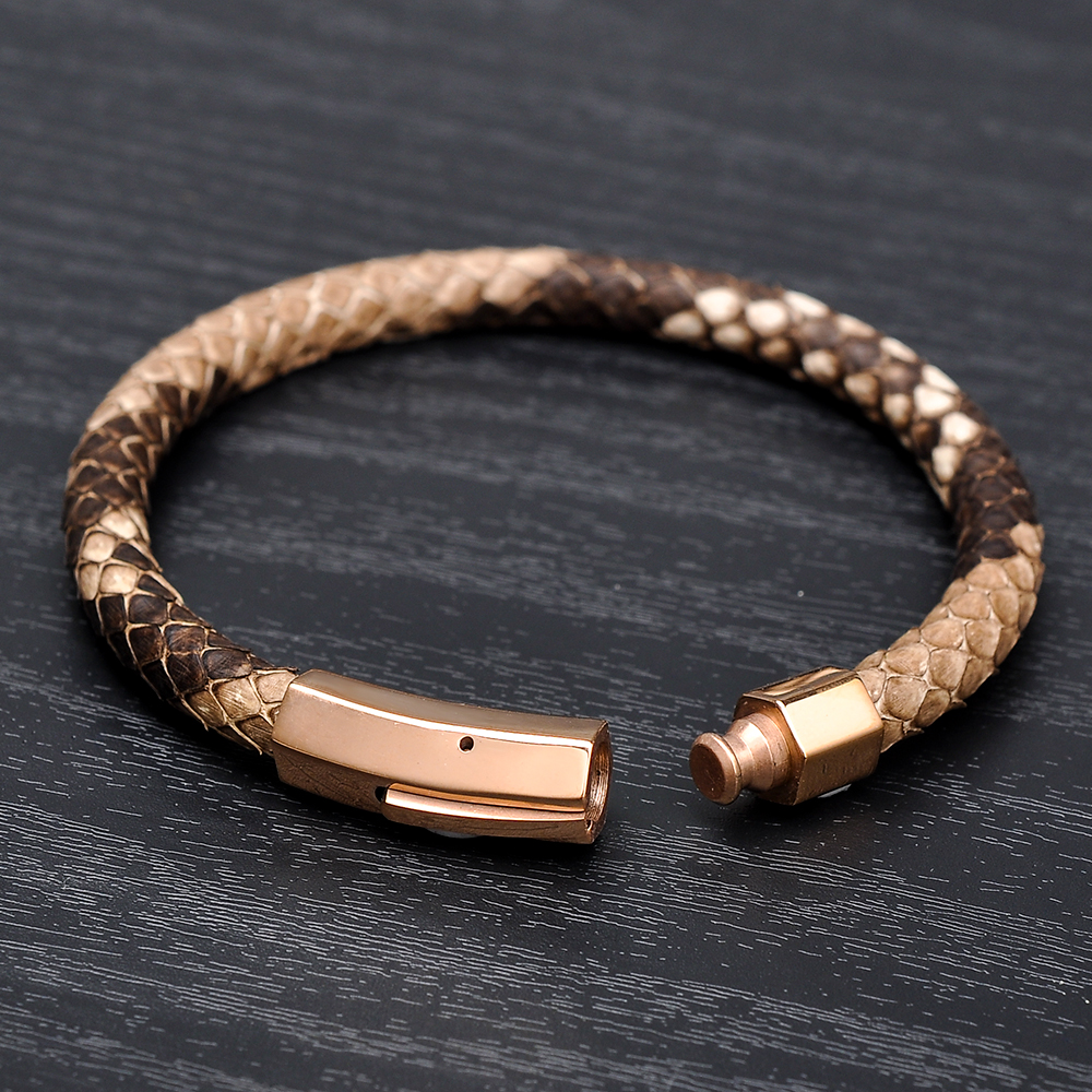 Custom Jewelry Wholesale Stainless Steel Clasps Python Leather Snake Skin Bracelet Men