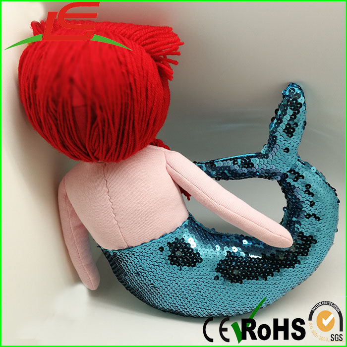 low price stuff plush mermaid with blue sequin fabric tail