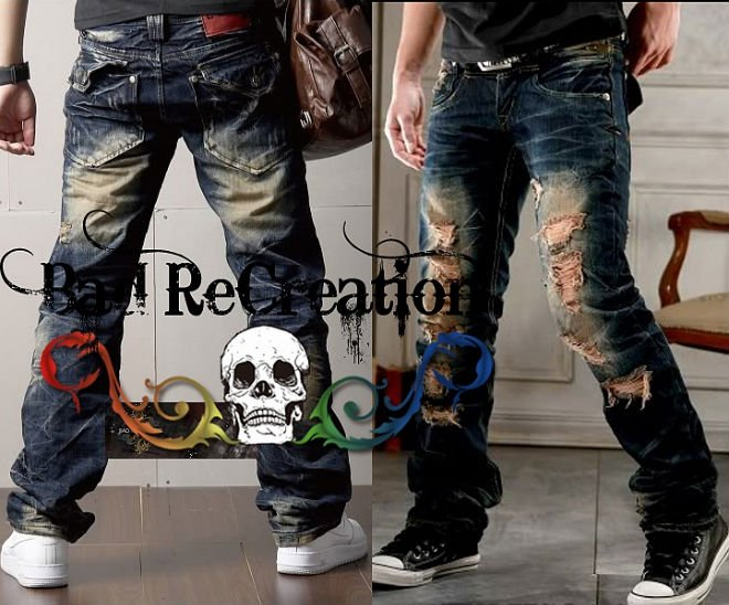 Mens Designer Ripped Cool Pocket Blue Jeans #183 - Buy Mens Jeans ...