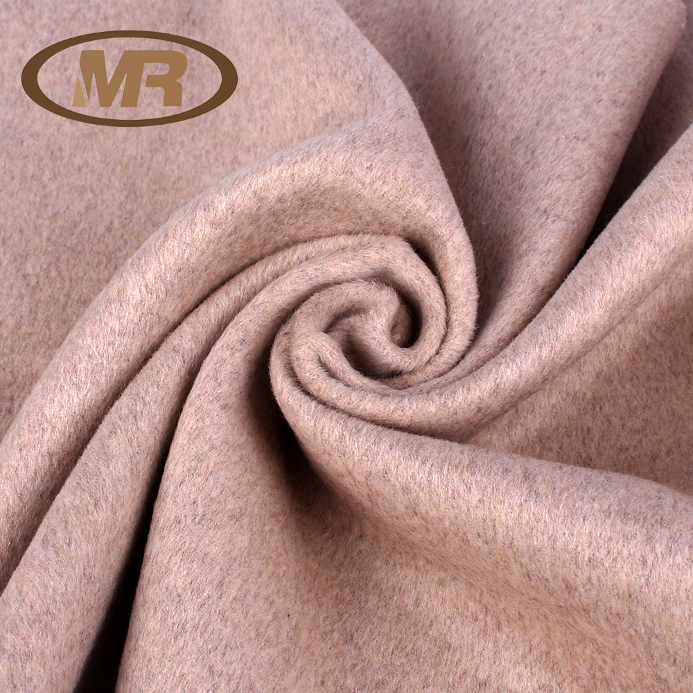 MingRui factory manufacture wool polyester viscose blended single face fleece twill style woolen woven fabric for wintercoating