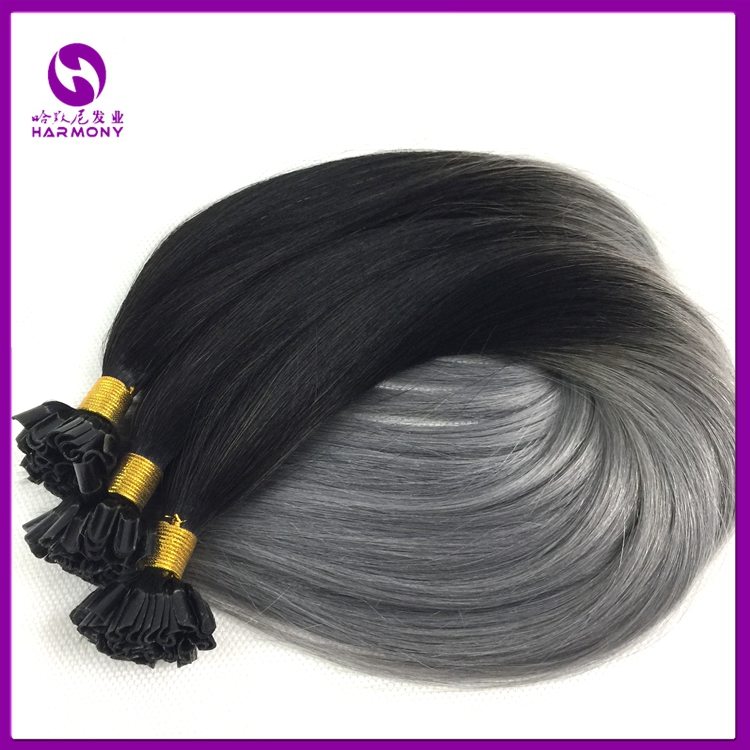 Wholesale cuticle Intact 100 virgin remy pre bonded keratin nail tip 1g ombre u tip hair extension