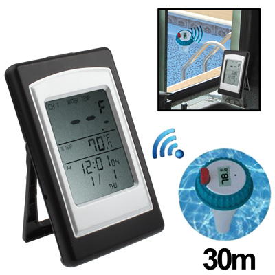 Professional Indoor and Outdoor Wireless Pool Thermometer, With Calendar / Alarm