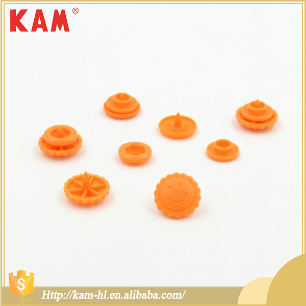 Orange custom colorful smile sun flower 4 parts plastic snap fastener button for baby kids children clothing dress bag shoe