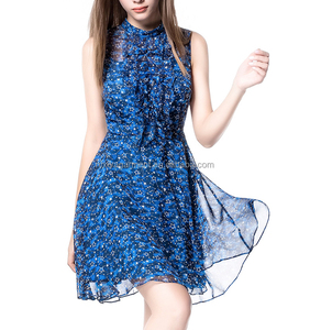 Summer clothes,cheap dresses online,star printed chiffon ruffle neck holiday dresses