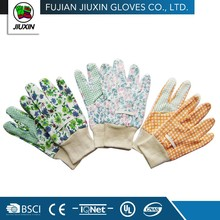 Fashion Top PVC dots on palm Drill cotton garden glove