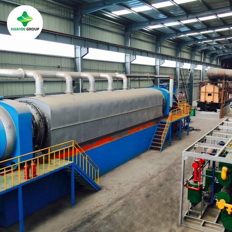 PLC controlled continuous waste tyre to oil plant working well in Canada