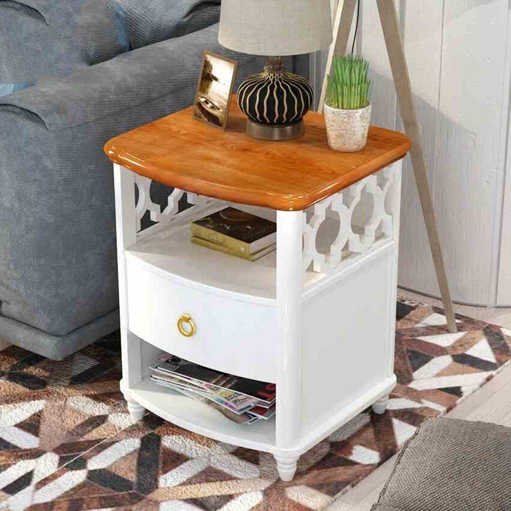 PM-Nightstands European Bedroom Bedside Table Bedside Cabinet Living Room Side Drawer Storage Storage Solid Wood Cabinet
