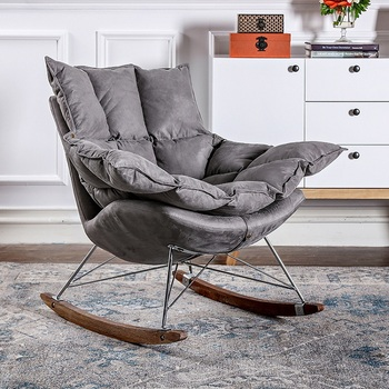 Etonnant Nordic Industrial Style Antique Wooden Legs Fabric Accent Rocking Chair  With Floor Protectors Legs