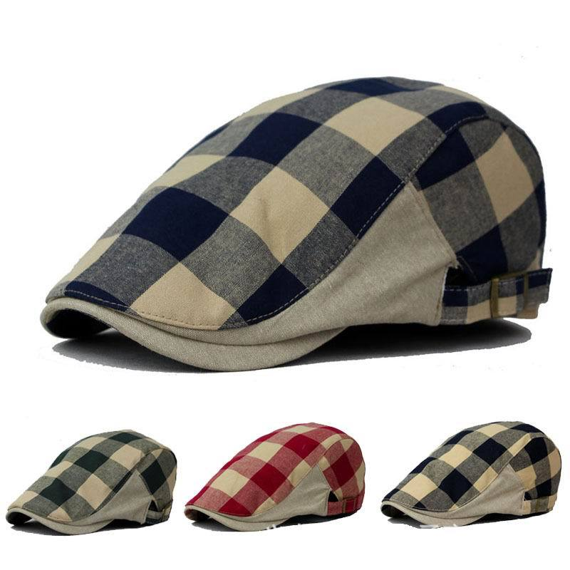 Get Quotations · Fashion Women Men Grid Cotton   Linen Unisex Gatsby Cap  Duckbill Visor Artist Ivy Hat Newsboy adabd1680cdd