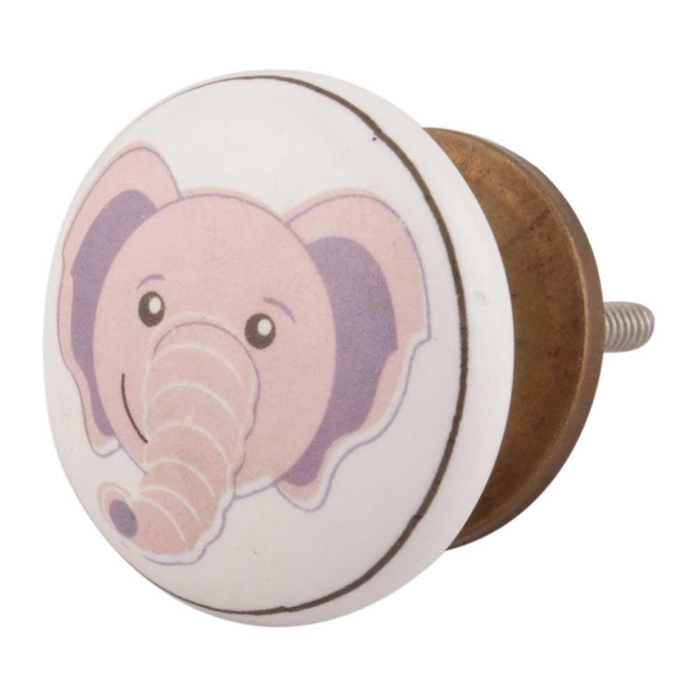 IndianShelf Handmade 8 Piece Ceramic Multicolor Elephant Flat Kid Artistic Drawer Knobs/Cabinet Pulls