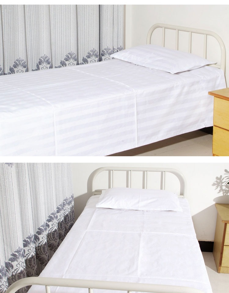 WCM-F-H058 100% Cotton fabrics hospital sheets high quality bedding sets white striped sheets for hospital hotel
